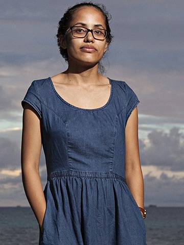 Kathy Jetnil Kijiner, a local Marshallese lecturer, poet and activist,